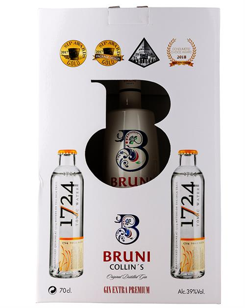 Bruni Collins Gin Giftbox med 2 tonicvand Gin Spanien 70 cl 39%