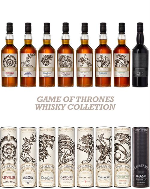 Game of Thrones Whisky Collection Hele Serien Inkl. Mortlach 15 år 9x70 cl 40-46%