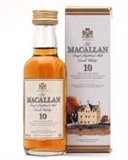 Macallan 10 år with box Miniature / Miniflaske 5 cl Single Highland Malt Scotch Whisky 40%